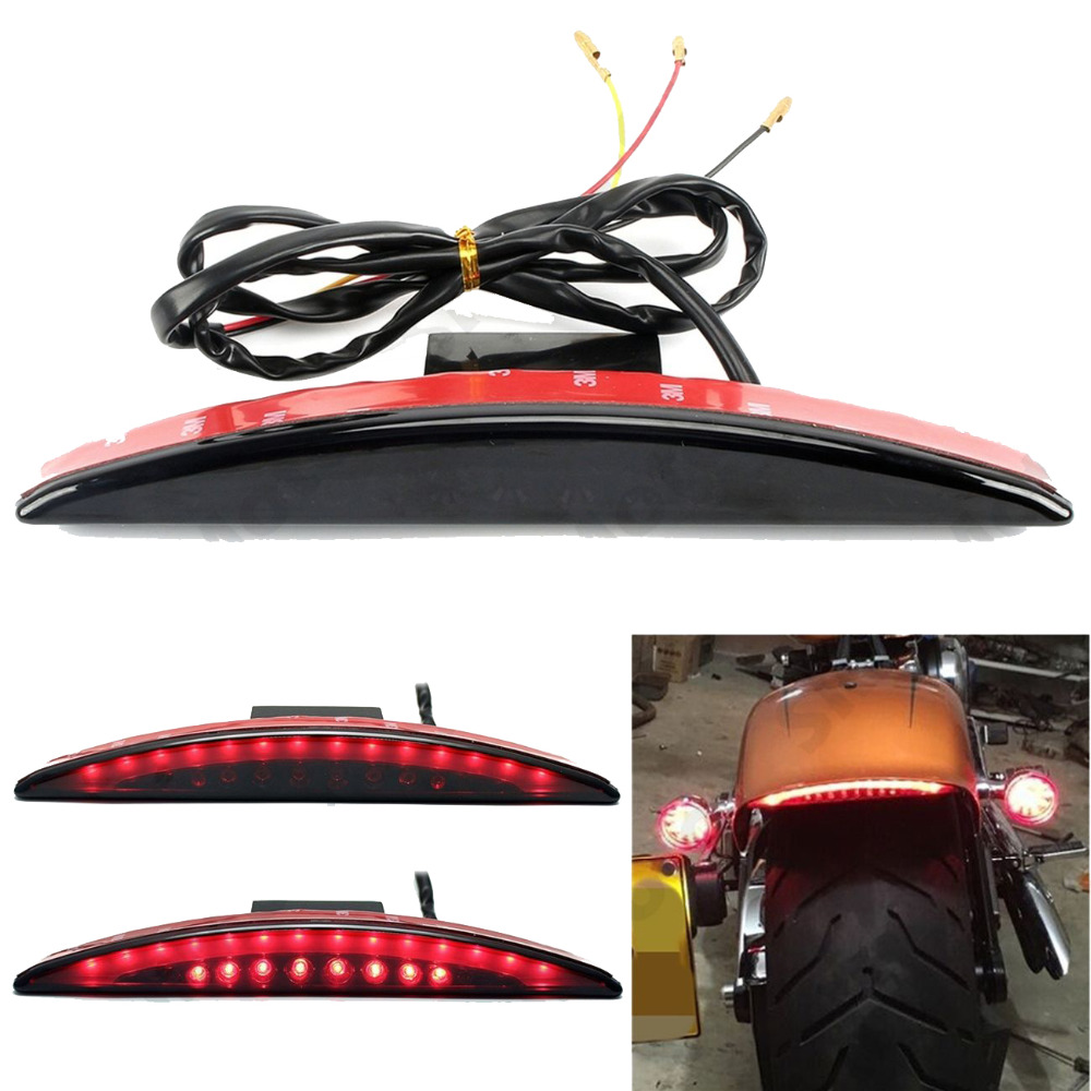 Clear Smoke Red Lens Motorcycle Red LED Brake Stop Rear Fender Tip Tail Light Indicator Lamp For Harley Breakout FXSB 2013-2016  clear smoke red lens motorcycle red led brake stop rear fender tip tail light indicator lamp for harley breakout fxsb 2013 2016
