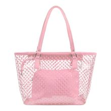Women PVC Clear Hand Bag Waterproof Tote Shoulder Bag Polka Dot Handle Bag Female Candy Color Beach Bag With Inner Bag Zipper trendy zippers and candy color design women s tote bag