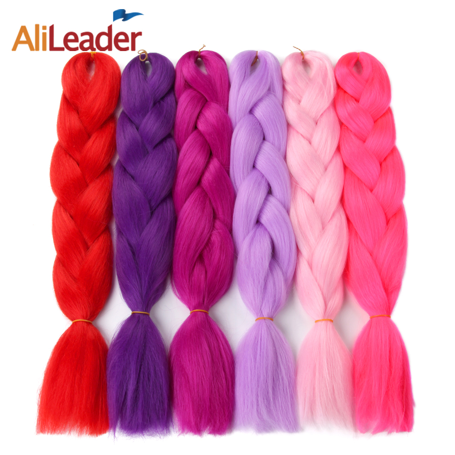 AliLeader One Two Three Tone Ombre Jumbo Braid Kanekalon Braiding Hair Pink Red Blue Green Purple Grey Synthetic Hair For Braid