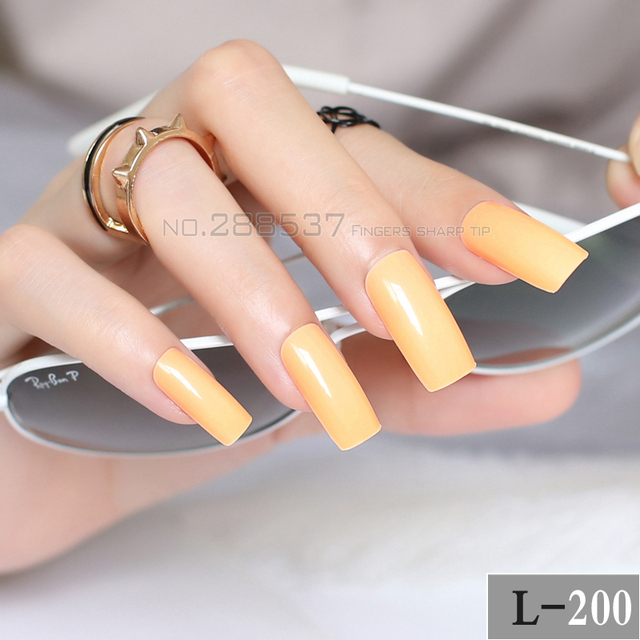 Pure Super Long Square head yellow fake nail Candy solid color Full ...