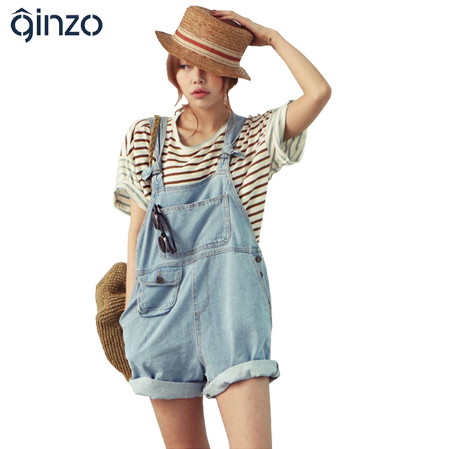 Macacões das mulheres cute denim macacão estilo Coreano casual Solto bolso shorts jeans Frete grátis