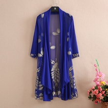 new Summer embroidery cardigan woman seven sleeves lace gauze embroidered shawl jacket plus size 5XL