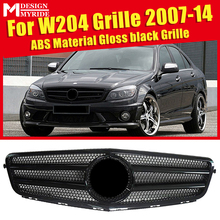 купить For Mercedes C Class W204 Saloon Coupe Front Grille Grill Grills Two Fin Gloss Black Add on Style C63 Look without sign 2007-14 по цене 3255.91 рублей