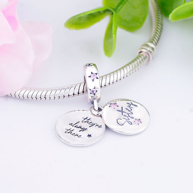 Original Pandora Bracelet 100% 925 Sterling Silver Forever Sisters Hanging Charm Bead For Women Necklace Pendant
