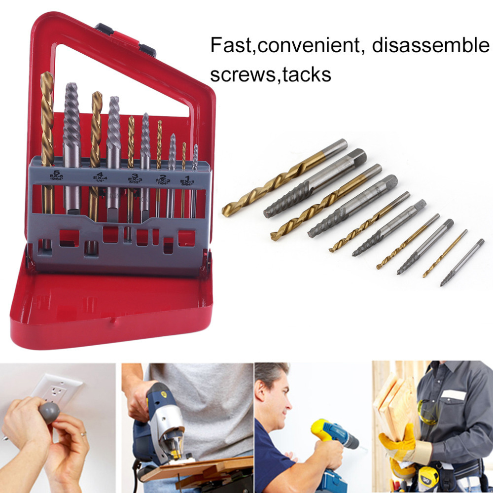 10pc Screw Extractor Right-Hand High Speed Drill Bit Set Easy Out Broken Screw