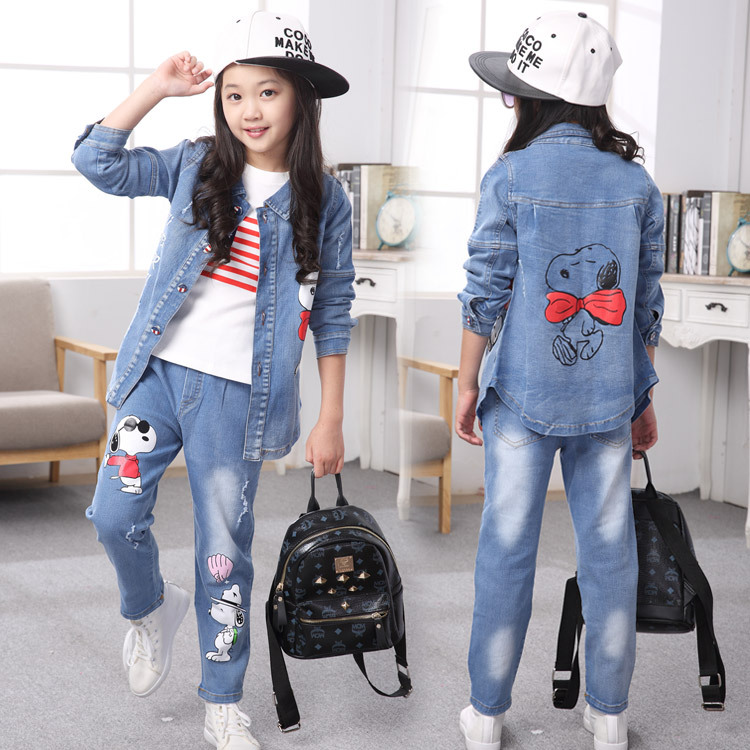 ФОТО Children sports suit spring girls clothing set kids denim coat & long sleeve t shirt & jeans 3 pcs china clothes free shipping
