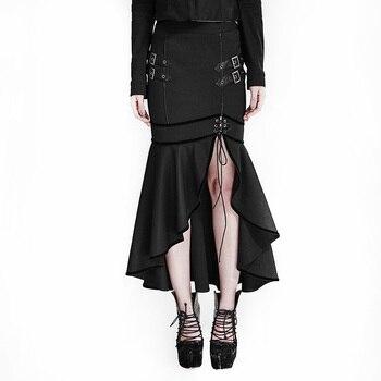 Uniforme militar gótico media falda Steampunk faldas largas de mujer con una cintura Natural sirena negro trompeta estadounidense Q-293