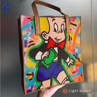 Из натуральной кожи Для женщин сумочка арт рука рисунок масла окрашенные печати Алек мальчик малыш зерна коровьей кожи сумка Сумки тотализ