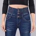 2016 Primavera Verão Calça Jeans de Cintura Alta Mulheres Calças Jeans Skinny mulheres de Forma Magro Plus Size Longo Lápis Calças Skinny Slim calças de brim