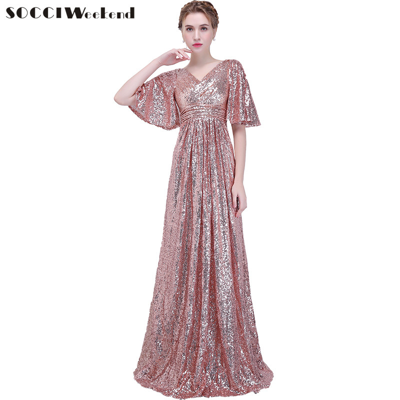 SOCCI New Banquet Evening Dress Simple Rose Sequins Elegant Deep V Plus Size Long Prom Party Gown Formal Dresses Robe De Soire