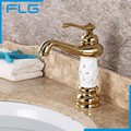 Free Shipping Bathroom Basin Gold Faucet, Brass with Diamond/Crystal Body Tap New Luxury Single Handle Hot and Cold Tap 100088