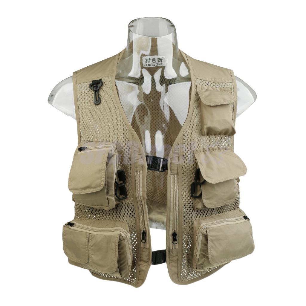 Fishing vest summer outdoor mens workwear mesh vests multi for Mens fishing vest