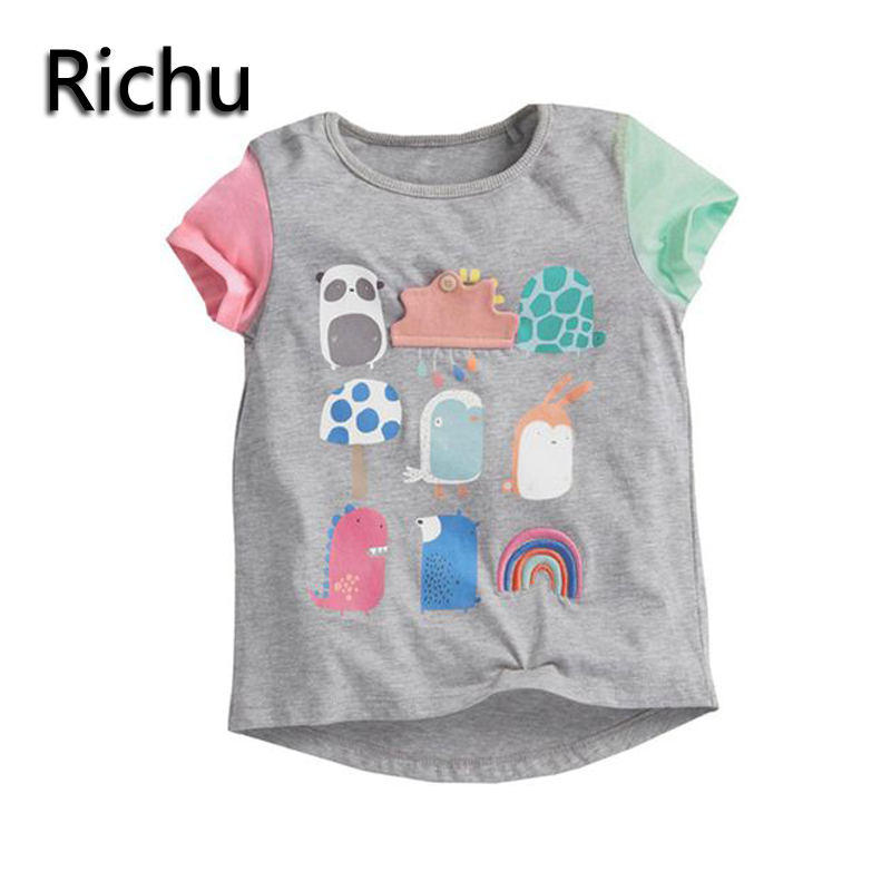 brand baby tops printed baby girl t-shirt cute tee for girls top designer little girl t-shirt short tee kids funny infant tee