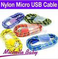 Braided Wire Micro USB Cable 1M 3ft Sync Nylon Woven V8 Charger Cords For Samsung Galaxy S3 S4 I9500 Blackberry Android