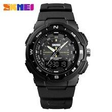 SKMEI Марка Кварцевые часы для мужчин двойной дисплей Спорт часы светодиодная цифровая электронная наручные часы Новый Военная Униформа часы для мужчин montre homme