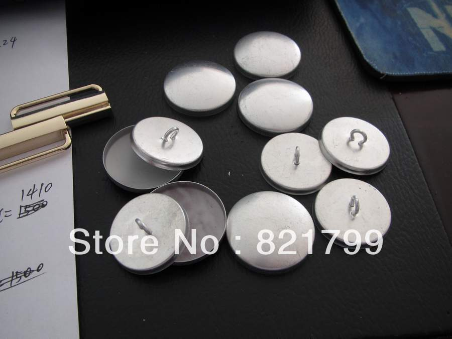 32L fabric cloth component DIY button fabric covered button component in aluminium cap white plastic bottom wholesale