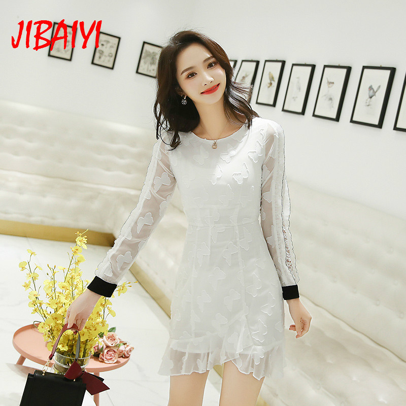 JIBAIYI Elegant Embroidery White Women Dress Vintage Long Lace Sleeve Spring Vestidos Female Party Hollow O-neck Sexy Dresses