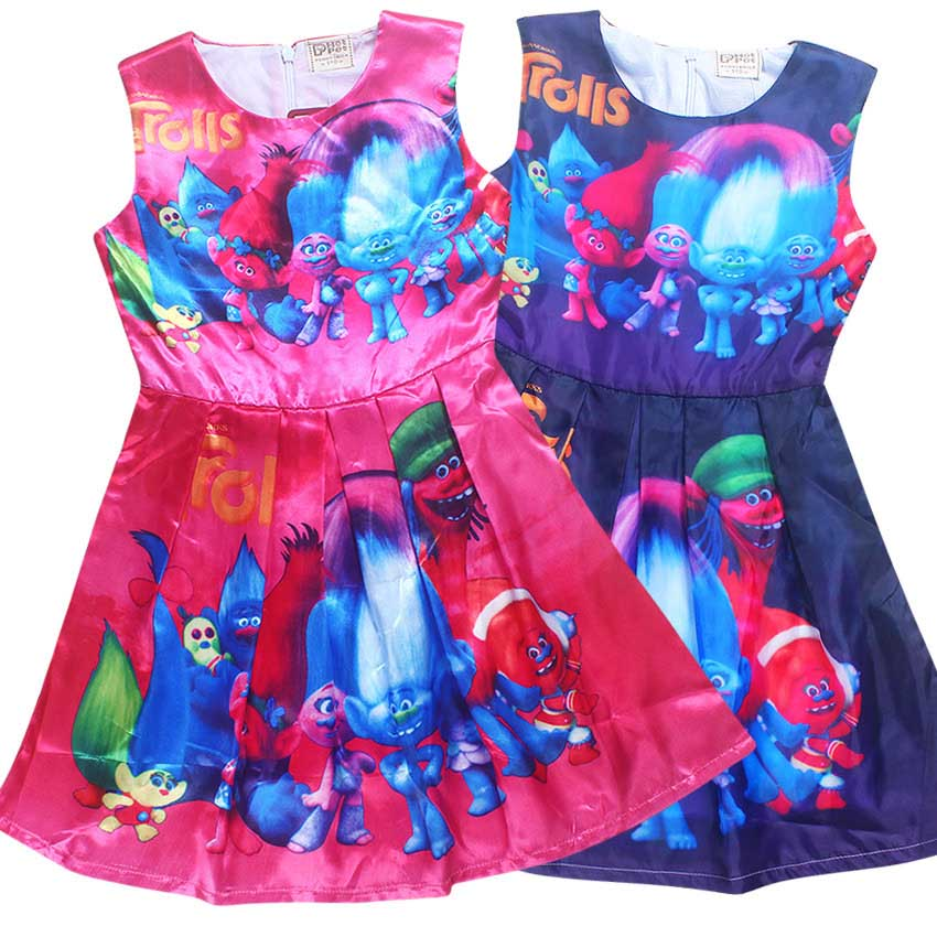 bērnu trolls kleita disfraz trolls puse apģērbi troll apģērbs meitenēm 10 gadi magoņu kleita bērniem carnaval kostīmi pusaudža