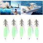 5 Pcs Glow Squid Jigs Hard Body Luminous 2 Razor Hooks Luminous Fishing Gear