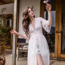 Baru Musim Panas Malam Gaun Antik Baju Tidur Wanita Leher-v Gaun Putri  Putih Sleepwear Renda Rumah Gaun Panjang Pakaian Tidur Ou. 3242064c34