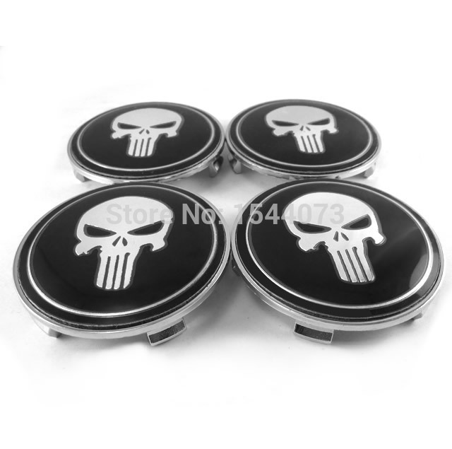4 Pcs 68mm Cool Punisher Logo Emblem Badge Wheel Center