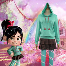 In Voorraden Ralph Breekt de Internet: wreck-It Ralph 2 Vanellope von Schweetz Hoodie/Rok/Leggings Kids Adult Cosplay Kostuum(China)