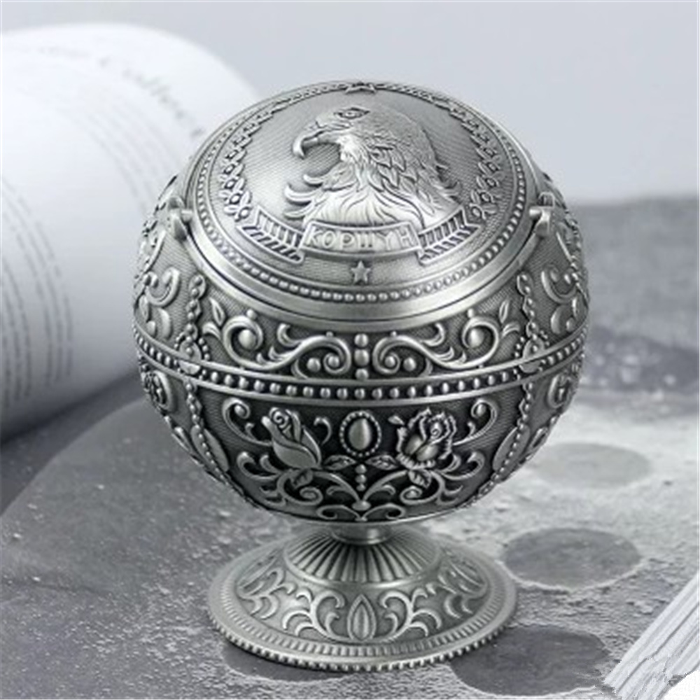 High Quality European Antique Globe Type Ashtray Eagle Figure Tin alloy Home Office Decoration цена