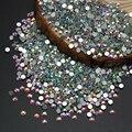 Высокое Качество Супер Блестящие Nail Art Rhinestone Белый Crystal Clear AB Цвет Номера Для Исправления Flatback Кристаллический Стразами