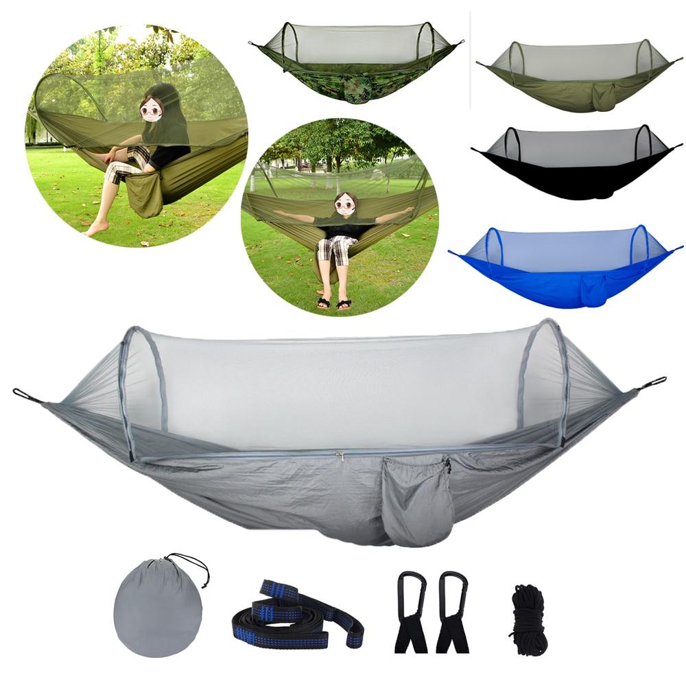 270*140cm Portable Foldable Camping Hammock Mosquito Net Hammock Tent Outdoor Indoor Backyard Hiking Backpacking Tree Hammocks