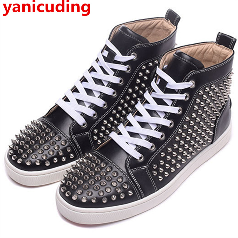yanicuding Hot Brand Men Casual Shoes Rivets High Top Breathable Flats Lace Up Vintage Men Trainers Black Color Round Toe Design 2017 new spring autumn men casual shoes breathable black high top lace up canvas shoes espadrilles fashion white men s flats
