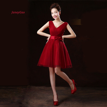 цена на JaneyGao Short Homecoming Dresses For Prom Party Formal Gown For Women Small V Neck Sexy Elegant Wine Red Tulle Dress On Sale