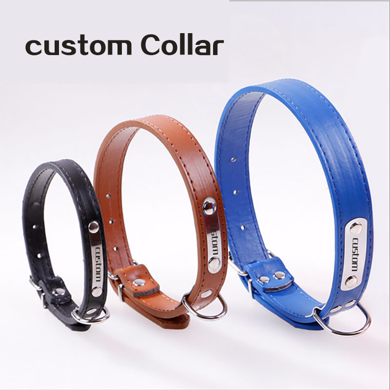 Gratis Gravering Metal Buckle Namn Valp Personlig Pet Namn Telefon ID Collar Custom Leather Little Dog Cat ID Collars