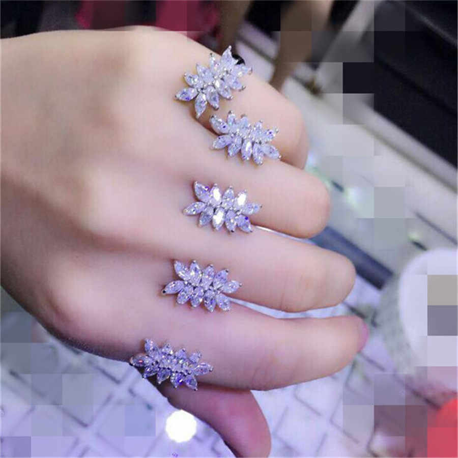 lyd13 Luxury Designer Fashion 925 Sterling Silver shinning European style Jewelry leaves shaped daa