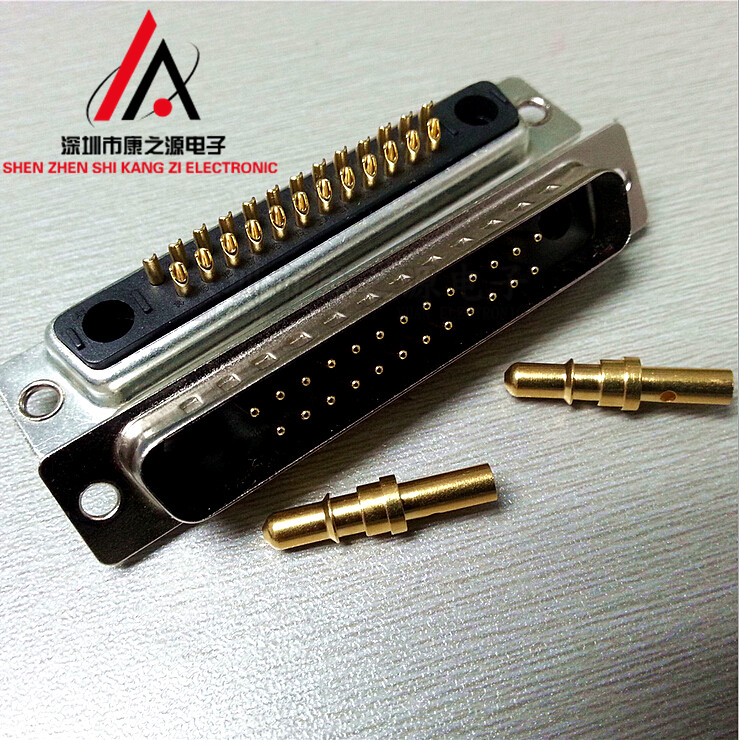 1pairs D-SUB high current connector rectangular heavy duty 27W2 wire male/female gold-plated 17v2 d sub backshells 37p top ent diecast nickel plated 1 piece