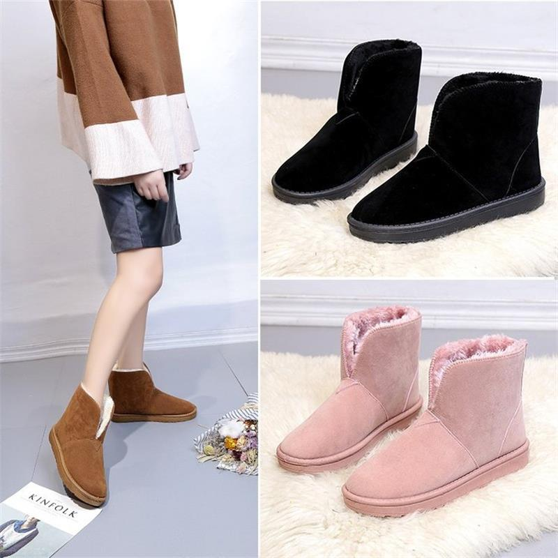 Cotton Women Winter Shoes with Fur Slip on Plush Female Flat Casual Ladies Women Boots Warm Winter Ankle Snow Boots DC210 new 2015 original warm snow boots women plush winter ankle boots comfortable lady flame design casual australia flat shoes