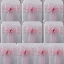 GSFY-10 Pink Organza Chair Cover Sashes Bow for Wedding Party Decor