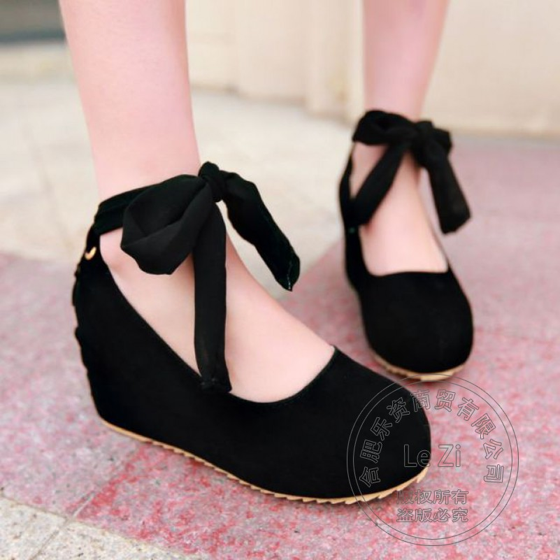 Slipsole Matte Solid Color Lolita Butterfly Back Lace Up Korean font b Women b font Shoes