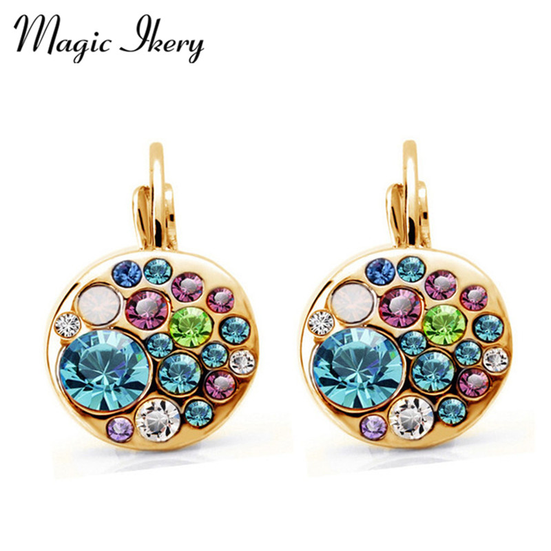 Magic Ikery Ny Ankomst Guldfarve Crystal Korean Fashion Runde drop øreringe smykker øreringe til kvinder