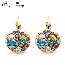 Magic Ikery New Arrival Gold Color Crystal korean Fashion Round drop earrings jewelry earrings for women