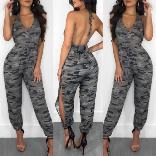 Sexy Summer Women Print Backless Bodycon   Jumpsuit   Romper Casual Clubwear US