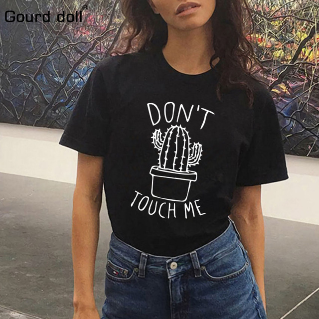 Cactus Printed Women's T-Shirt Cotton Harajuku Summer Female Top Tee For Lady Girl Funny Round neck T-shirts Hipster Tumblr  1