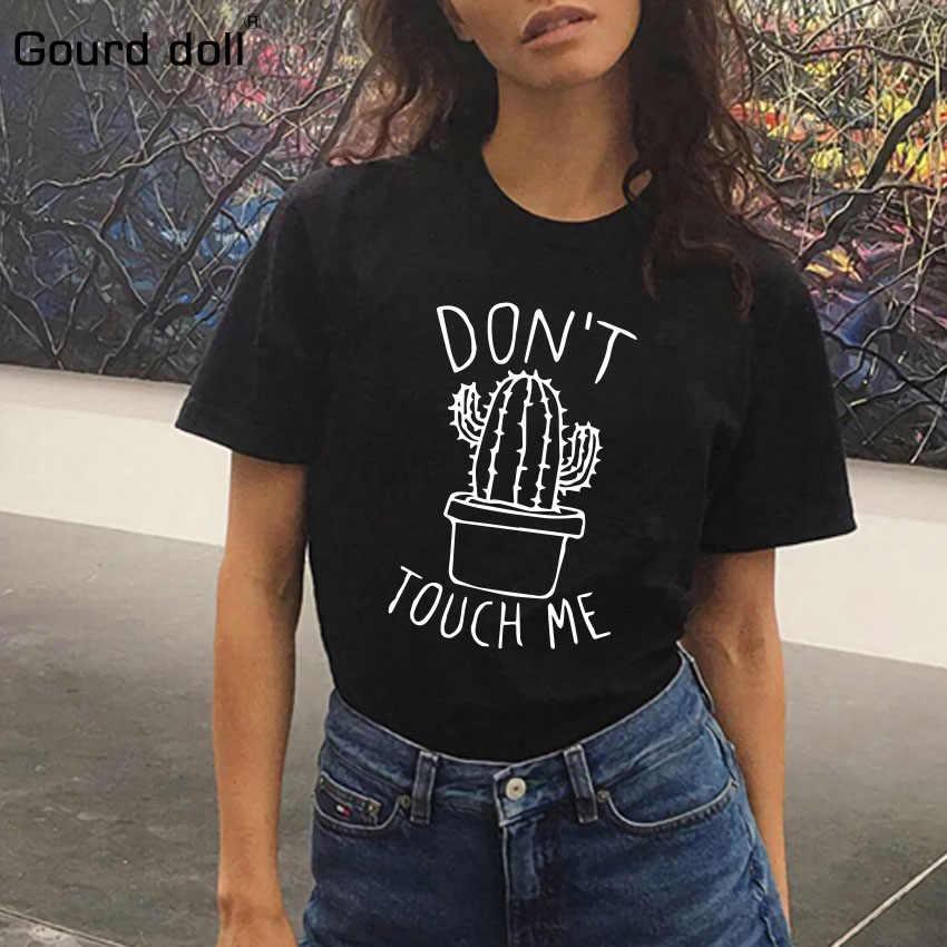 サボテンプリント女性の Tシャツ綿原宿夏の女性トップ Tシャツレディーガールおかしいラウンドネック Tシャツヒップスターフォロー