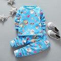 Conjuntos de Roupas crianças meninos Pijamas Ternos de Roupa Interior Térmica Bebê Roupas Meninas Define Crianças Sleepwear Algodão Set Camisas + Calças