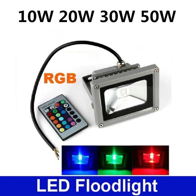 10w 20w 30w 50w Rgb Led Flood Light Cob Exterior Spotlight Ip65 Outdoor Reflector Spot Floodlight Remote Control Lamp