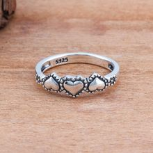 Real Solid 925 Vintage Style Sterling Triple Heart Finger Silver Rings