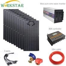 WORKSTAR ETFE 100 Вт Гибкая солнечная панель 10 шт. ETFE солнечное зарядное устройство от сети 1000 Вт Солнечная система с 6 кВт инвертором 80A контроллер