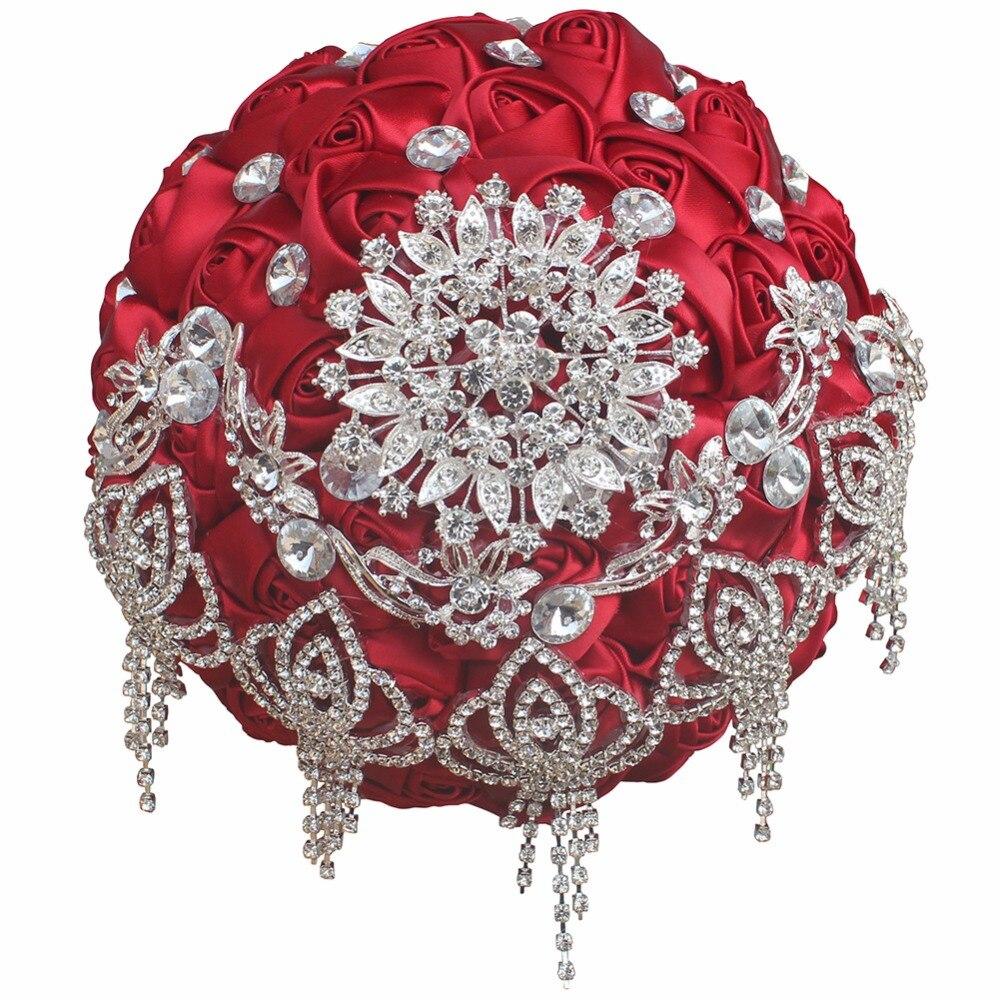 Bouquet de mariage Rose rouge broche en cristal Bouquets de mariée à la main en Satin fleur strass mariée Bouquets de mariage peut sur mesure