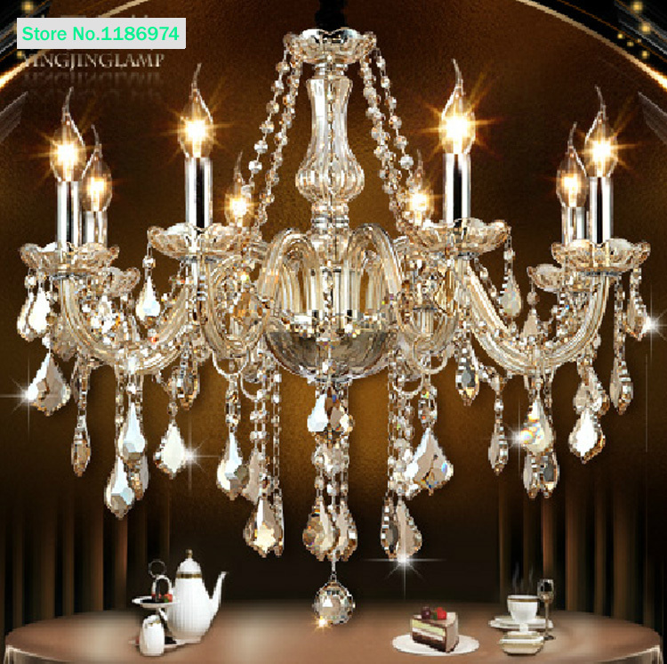 Cognac Modern Crystal Chandelier 8 Led Lamps Discount