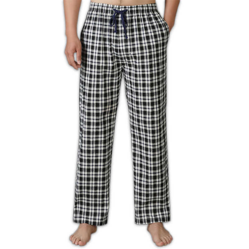 8db87191d57 Summer 100% cotton sleep bottoms men simple pijamas indoor trousers casual  plaid sheer men sleep