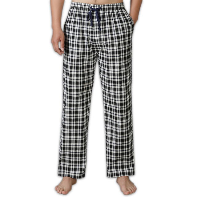 Summer 100% cotton casual plaid sleep bottoms men simple pijamas indoor trousers sheer men sleep pants Plus size XXL 100KG